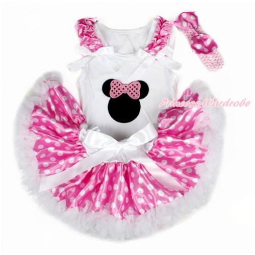 White Baby Pettitop with Hot Pink White Dots Ruffles & White Bows with Sparkle Light Pink Bow Minnie Print & Hot Pink White Dots Newborn Pettiskirt With Light Pink Headband Hot Pink White Dots Satin Bow NG1449