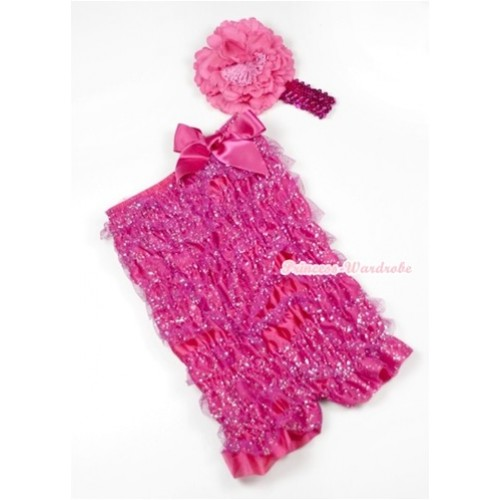 Sparkle Hot Pink Lace Ruffles Romper with Hot Pink Bows with Hot Pink Sequin Headband Hot Pink Peony Set RH118