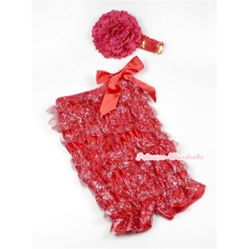 Sparkle Hot Red Lace Ruffles Romper with Hot Red Bows with Red Sequin Headband Red Peony Set RH119