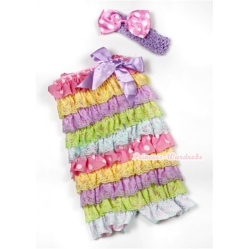 Rainbow Light Pink White Dots Lace Ruffles Romper with Lavender Bows with Lavender Headband Light Pink White Dots Satin Bow Set RH122