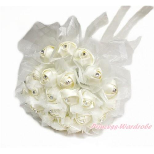 Cream White Sparkle Crystal Bling Rhinestone Wedding Girl Satin Bridal Bouquet C231