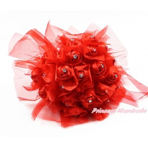 Red Sparkle Crystal Bling Rhinestone Wedding Girl Satin Bridal Bouquet C234