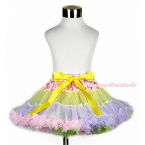 Hot Pink White Dots Waist Rainbow Yellow Lavender Light Pink Light Blue Full Pettiskirt P185
