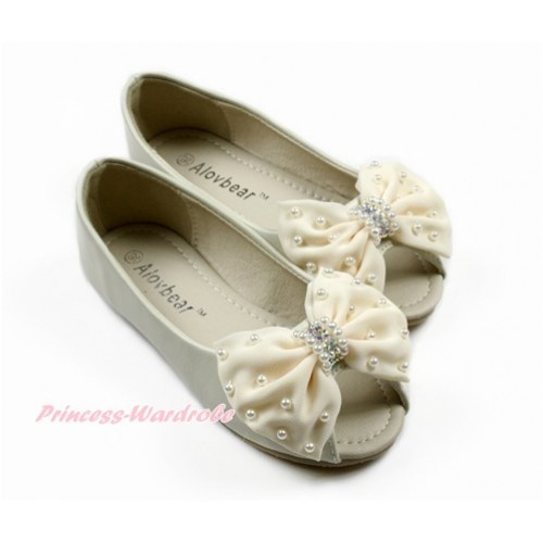 Cream White Pearl Bow with Ivory Cream White Open Toe Shoes D02CreamWhite