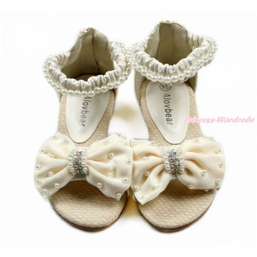 Cream White Pearl Bow Flat Ankle Sandals L03-3Beige