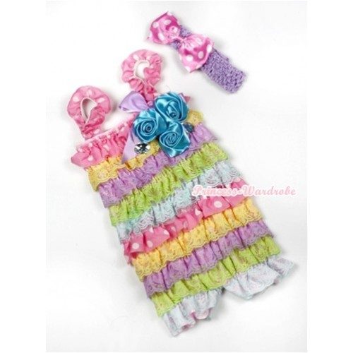 Rainbow Light Pink White Dots Lace Ruffles Rompers With Straps With Big Bow & Bunch Of Light Blue Satin Rosettes& Crystal,With Lavender Headband Light Pink White Dots Satin Bow RH134