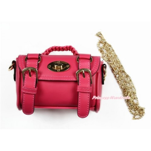Gold Chain Hot Pink Leather With Double Buckle Little Cute Petti Shoulder Bag With Strap CB159