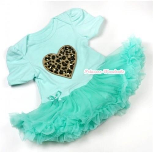 Aqua Blue Baby Jumpsuit Aqua Blue Pettiskirt with Leopard Heart Print JS543