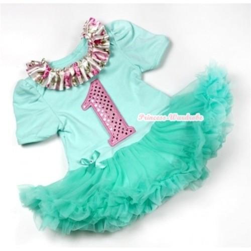 Aqua Blue Baby Jumpsuit Aqua Blue Pettiskirt with Rose Fusion Satin Lacing & 1st Sparkle Light Pink Birthday Number Print JS547