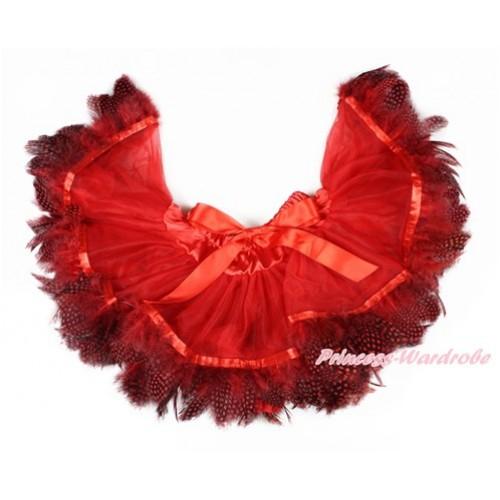 Hot Red Feather Newborn Pettiskirt N215