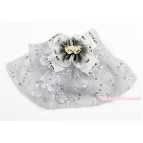 White Sparkle Crystal Bling Rhinestone Love Bow Wedding Pet Dog Cat Hain Clip DC113
