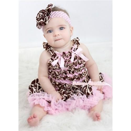 Light Pink Giraffe Baby Ruffles Tank Top with Light Pink Bow With Light Pink Giraffe Baby Pettiskirt NR61