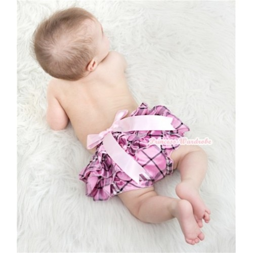 Light Pink Checked Satin Layer Panties Bloomers With Light Pink Big Bow BC128