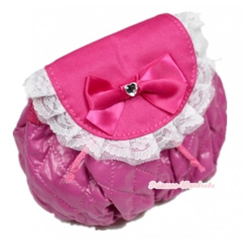 Hot Pink White Lacing & Crystal Bow Soft Petti Bag Purse With Bead Strap CB59