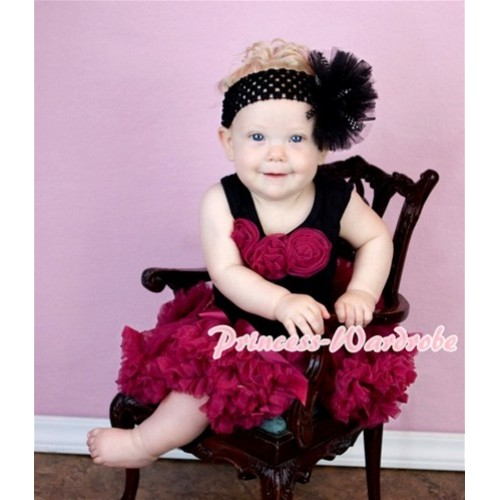 Black Baby Pettitop & Raspberry Rosettes with Raspberry Baby Pettiskirt NG356