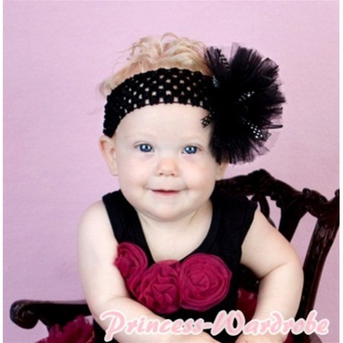 Black Baby Pettitop with Raspberry Rosettes NT121