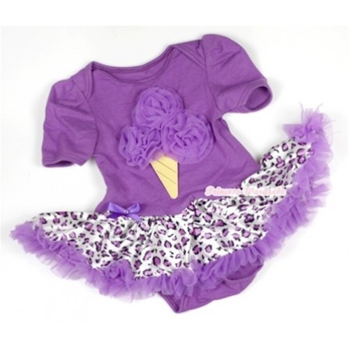 Dark Purple Baby Jumpsuit Dark Purple Leopard Pettiskirt with Dark Purple Ice Cream Print JS562