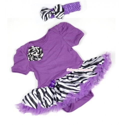 Dark Purple Baby Jumpsuit Dark Purple Zebra Pettiskirt With One Zebra Rose With Dark Purple Headband Zebra Satin Bow JS573