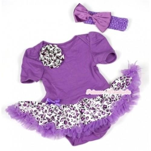Dark Purple Baby Jumpsuit Dark Purple Leopard Pettiskirt With One Dark Purple Leopard Rose With Dark Purple Headband Dark Purple Satin Bow JS574