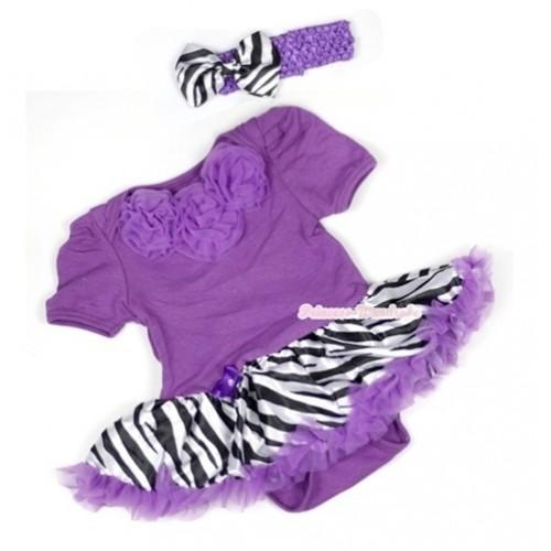 Dark Purple Baby Jumpsuit Dark Purple Zebra Pettiskirt With Dark Purple Rosettes With Dark Purple Headband Zebra Satin Bow JS575
