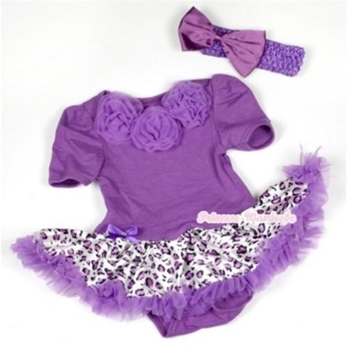 Dark Purple Baby Jumpsuit Dark Purple Leopard Pettiskirt With Dark Purple Rosettes With Dark Purple Headband Dark Purple Satin Bow JS576