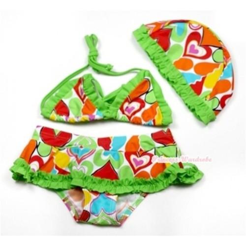 Bright Green Colourful Heart Bikini Swimming Suit with Cap SW66