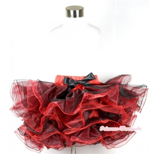 Red Black 8 Layers Full Pettiskirt With Black Bow B158
