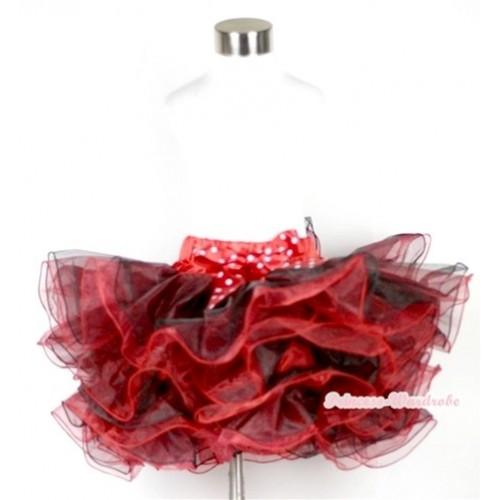 Red Black 8 Layers Full Pettiskirt With Minnie Dots Bow B159