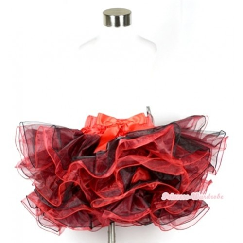 Red Black 8 Layers Full Pettiskirt With Red Bow B160