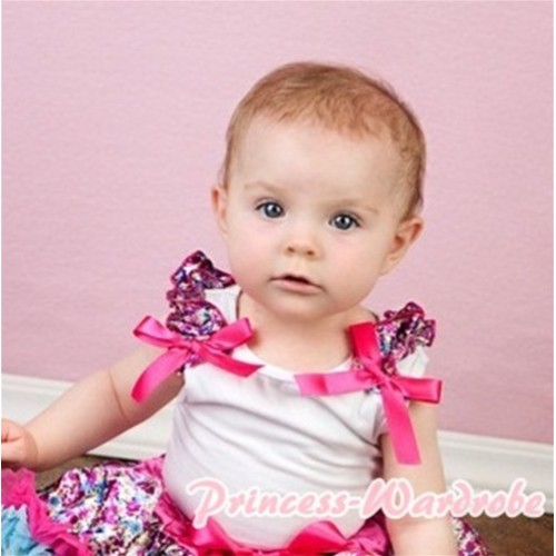 White Tank Top with Floral Ruffles and Hot Pink Bow T347