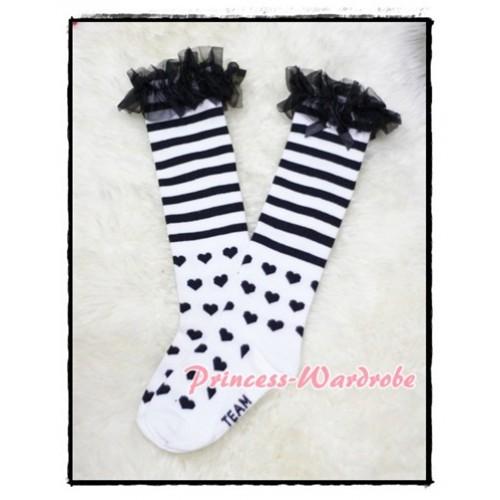 Black Stripes & Heart White Cotton Stocking with Ruffles SK46