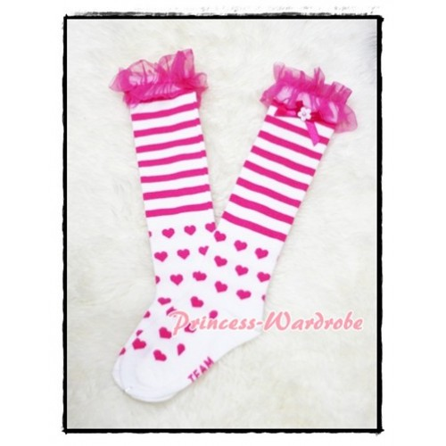 Hot Pink Stripes & Heart White Cotton Stocking with Ruffles SK47