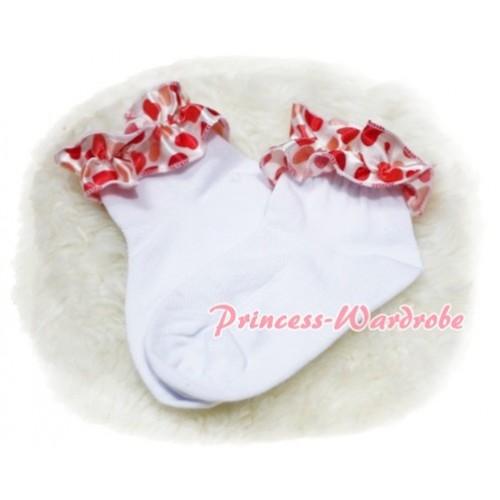 Plain Style Pure White Socks with Cream White Heart Ruffles H213