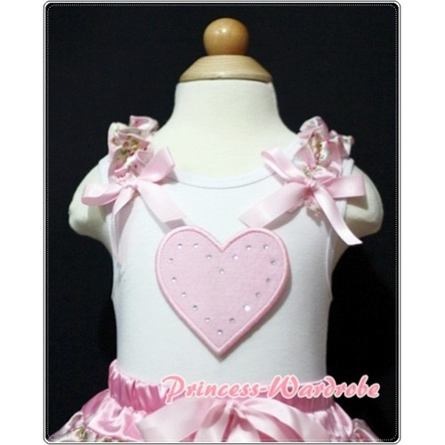 Light Pink Heart White Tank Top with Light Pink Floral Ruffles Light Pink Bows TM190