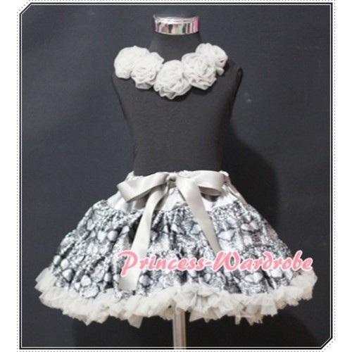 Black Tank Tops with Grey Rosettes & Silver Grey Snakeskin Pettiskirt MW70