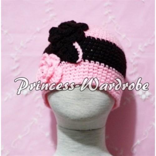 Sweety Style Black Pink Flower Light Pink Crochet Beanie Hat HA37
