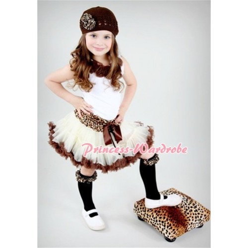 White Tank Tops with Brown Rosettes & Leopard Waist Cream White Brown Pettiskirt MG45
