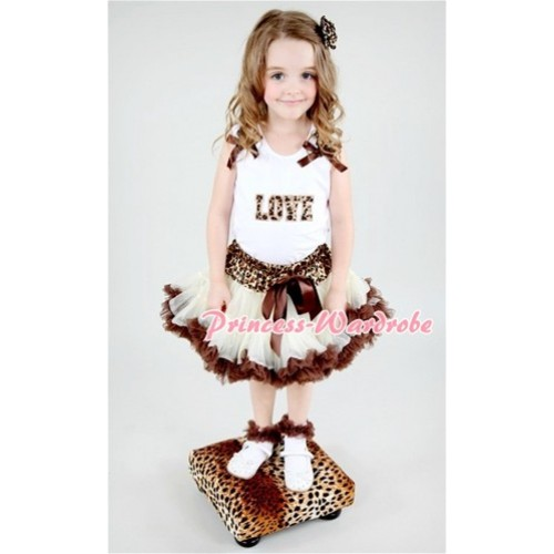 Leopard Waist Cream White Brown Pettiskirt with Leopard Love Print White Tank Top With Leopard Ruffles & Brown Bow  MM145