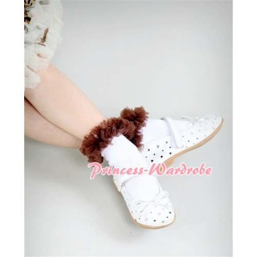 Plain Style Pure White Socks with Brown Ruffles and Bow SK60