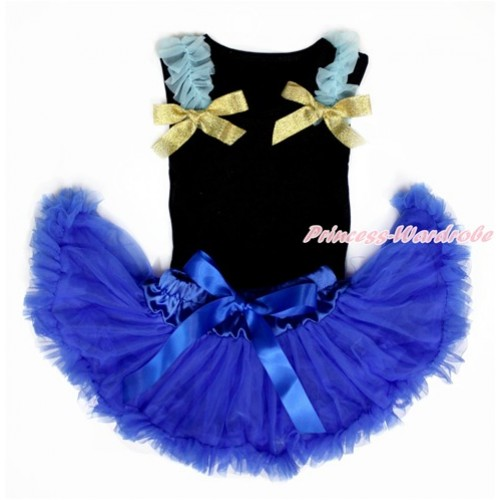 Black Baby Pettitop & Light Blue Ruffles & Sparkle Goldenrod Bows with Royal Blue Baby Pettiskirt NG1455