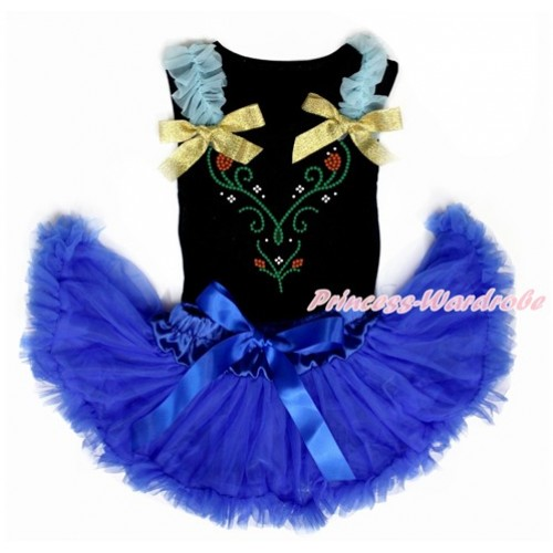 Black Baby Pettitop with Light Blue Ruffles & Sparkle Goldenrod Bow with Sparkle Crystal Bling Rhinestone Princess Anna Print with Royal Blue Newborn Pettiskirt NG1456
