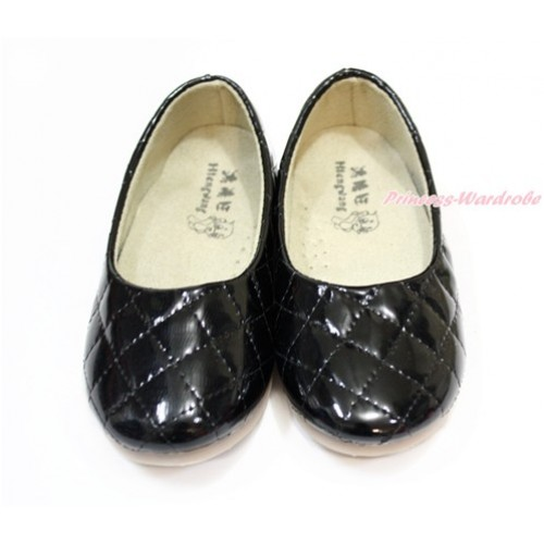 Black Plain Patent Leather Slip On Girl School Casual Shoes 898Black