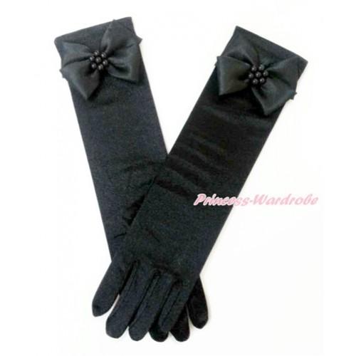 Black Pearl Flower With Black Wedding Elbow Length Princess Costume Long Satin Gloves PG014