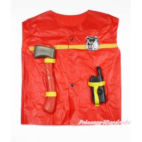 Firefighter With Walkie-Talkie & Axe Dress Up Costume 3PC Set C252