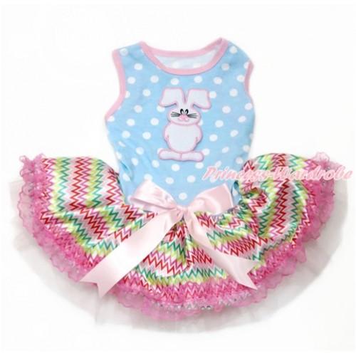Easter Light Blue White Dots Sleeveless Rainbow Chevron Lace Gauze Skirt With Bunny Rabbit Print With Light Pink Bow Elegent Pet Dress DC119