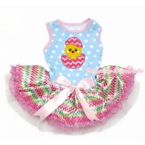 Easter Light Blue White Dots Sleeveless Rainbow Chevron Lace Gauze Skirt With Chick Egg Print With Light Pink Bow Elegent Pet Dress DC123