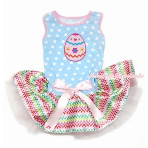 Easter Light Blue White Dots Sleeveless Rainbow Chevron Gauze Skirt With Easter Egg Print With Light Pink Bow Pet Dress DC126