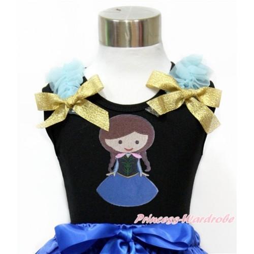 Black Tank Top With Light Blue Ruffles & Sparkle Goldenrod Bow With Princess Anna Print TB758