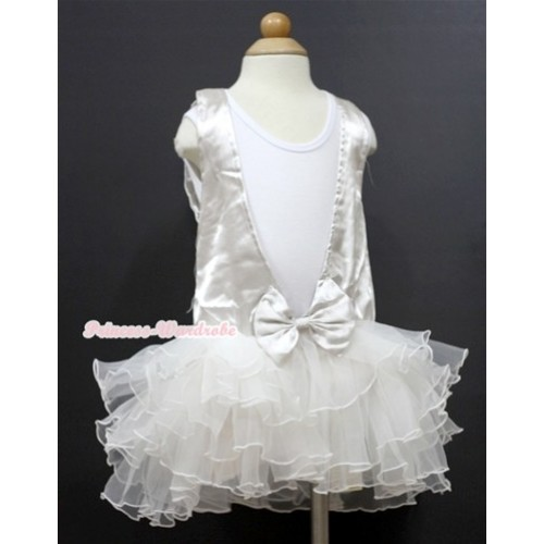 Plain Style White Tank Top With White Lace See Through Multi-layer Party Dress PD038