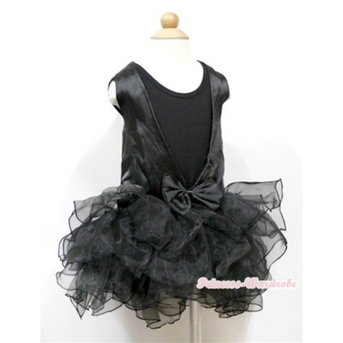 Plain Style Black Tank Top With Black Lace See Through Multi-layer Party Dress PD039
